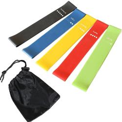 5Pcs Resistance Loop Bands Set Strength Fitness Gym Sports Yoga Multicolor