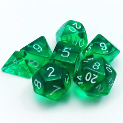 7Pcs Transparent Polyhedral Dice For DND RPG MTG Role Table Game Dark Green
