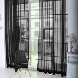 A Pair Voile Curtains Sheer translucent Divider Valances Black,100x200cm