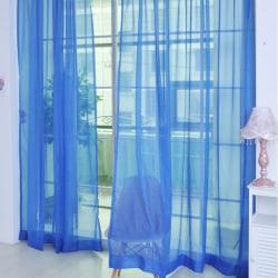 A Pair Voile Curtains Sheer translucent Divider Valances Dark Blue,100x200cm