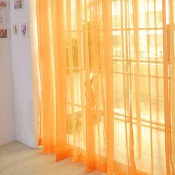 A Pair Voile Curtains Sheer translucent Divider Valances Orange,100x270cm
