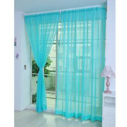 A Pair Voile Curtains Sheer translucent Divider Valances Peacock Blue,100x270cm