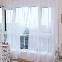 A Pair Voile Curtains Sheer translucent Divider Valances White,100x200cm