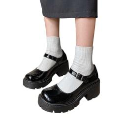 Abtel Women's Mary Jane School Shoes Platform Ankle Buckle Single Buckle,38