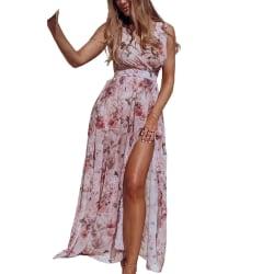 Women Beach Floral Bohemian Chiffon Sleeveless Summer Long Dress Pink,XL
