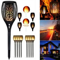 2/4/6 pcs 12LED Flame Hollow Out Solar Waterproof Garden Lamp 2Pcs