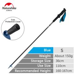Carbon Walking Stick Trekking Pole 4-Section Folding Alpenstock Blue 110cm