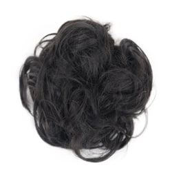 Curly Messy Bun Hair Piece Scrunchie Cover Extensions Real Human Black Grey#04