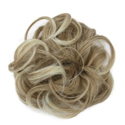 Curly Messy Bun Hair Piece Scrunchie Cover Extensions Real Human Khaki#08