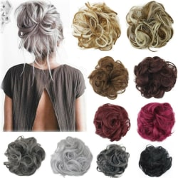 Curly Messy Bun Hair Piece Scrunchie Cover Extensions Real Human Sandy#18