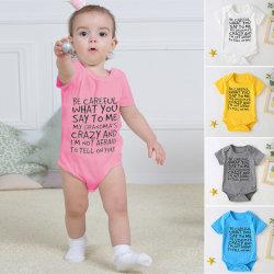 Newborn Baby Girls Boys Romper Set Short Sleeve Letter Printed Yellow,70