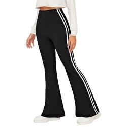 Ladies casual loose yoga striped print mid-rise wide-leg pants black,L