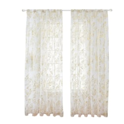 Feathers Tulle Curtain Panel Sheer Home Decor Golden,100x200cm