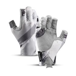 Fingerless Gloves Half Finger Fishing Gloves Non-Slip Breathable grey,XL