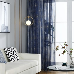Firework Print Tulle Voile Window Curtain Decor Navy Blue and gold,100x200cm