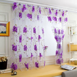 Floral Sheer Voile Curtains Room home decoration Purple,100x200cm