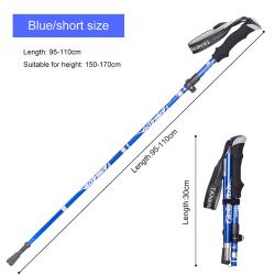 Fällbara vandringsstavar Walkingstick 5-sektioner Alpenstock Blue Short