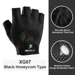 Half Finger Gloves Hand Protector Anti-Slip Gym Fitness Weight black,S