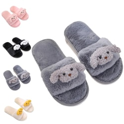 Kids Girls Boys Dog Doll Slippers Slides Flat Open Toe Shoes Gray,32-33