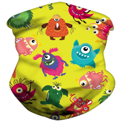 Kids Neck Gaiter Bandana Sun Mask Tube Scarf Balaclava Headwear Bright Yellow Monster