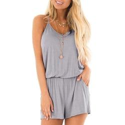 Ladies casual jumpsuit summer floral suspender gray,M