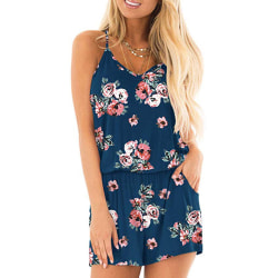 Ladies casual jumpsuit summer floral suspender jumpsuit Navy rose,M