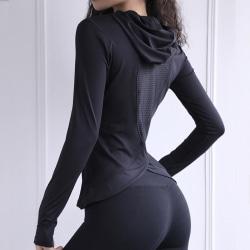 Ladies Hooded Yoga Long Sleeve Sports Cap Women's Top black,S
