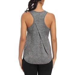 Ladies Racerback Yoga Gym T-shirt Sleeveless Top light grey,M