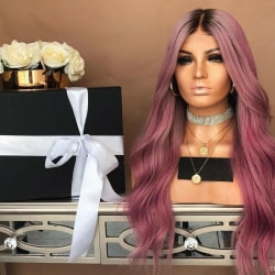 Long Curly Wig Wavy Natural Synthetic Hair Cosplay Party Costume Pink+Purple