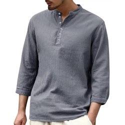 Men casual cotton linen breathable T-shirt loose solid color top Gray,XL