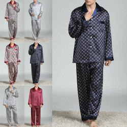 Men Pyjamas Set Checked or plain Tshirt Lounge Bottoms Nightwear Navy Blue,XL