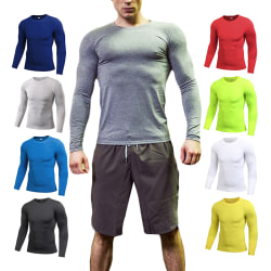 Men's Compression Shirt Long Sleeve Top Base Layer Workout Gym Grey,S