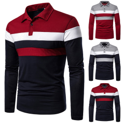 Men's Contrasting Color Stitching Long Sleeve Polo Shirt Dark blue,XL