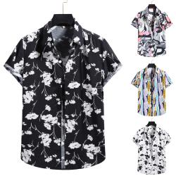 Men's Hawaii Short Sleeve Shirt Summer Beach Button T-Shirt Top Black,S
