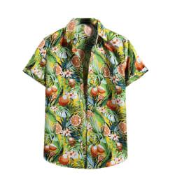 Men's Hawaiian Short Sleeve Shirt Top Summer Beach T-shirt Yellow,XL