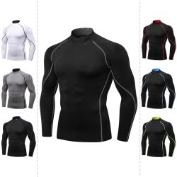 Men's High Collar Compression T-Shirt Bodybuilding Sportswear Black-Red,M