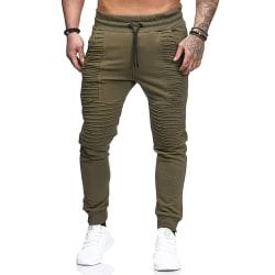 Men's loose jogger pants trousers running sweatpants Army green,XL