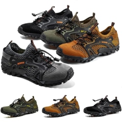 Men's non-slip and quick-drying mesh upstream shoes casual shoes Brown,43