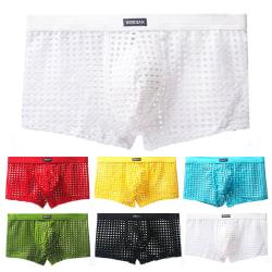 Men's sexy mesh hollow flat feet comfortable underwear Green,3XL