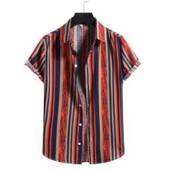Men's Short Sleeve Shirt Summer Beach Hawaii Casual T-Shirt Top Orange,XXL