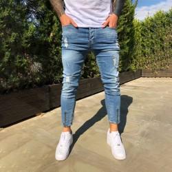 Men Skinny Jeans Ripped Slim Fit Stretch Casual Trousers Blue,L