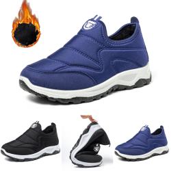 Men Snow Booties Warm Shoes Winter Plush Slip On Waterproof Black,44