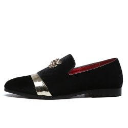 Men Suede Loafers Fashion Flat Casual Shoes Pointed Toe Black,43