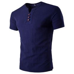 Men V-neck Cotton and Linen Short Sleeve T-Shirt Slim Fit Navy Blue,XL
