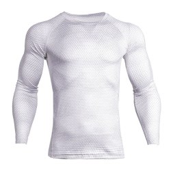 Men warm fitness body shaping exercise quick-drying long sleeves White,XL
