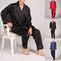 Mens Silk Satin Pajamas Sleepwear Set Boy Nightwear Loungewear Black,XL