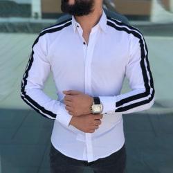 Mens Slim Fit Long Sleeve Shirts Casual Button Down Shirts White,XXL