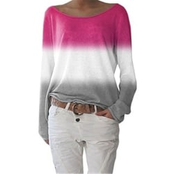 Plus Size Women's Round Neck Sweater Casual Loose Pullover rose Red,S
