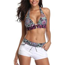 Plus Size Women Two Piece Swimwear Bikini Set Push Up Padded Bra White,XL
