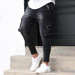 Regular Slim Men Jeans Zipper Cargo Pants 7 Different Colors Black,3XL